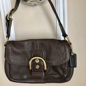 Leather coach shoulder bag